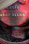 Detail of an old steam tractor, Wooden Shoe Tulip Farm, Oregon