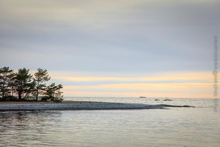 Lätta moln vid en havsstrand på Torö i Stockholms skärgård