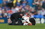 David Brooks of Sheffield Utd attended to by Paul Watson physio during the championship match at St Andrews Stadium, Birmingham. Picture date 21st April 2018. Picture credit should read: Simon Bellis/Sportimage
