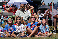 Fans react to a missed scoring opportunity while watch the finals of the 2011 FIFA Women's World Cup prior to a Women's Professional Soccer (WPS) match between Sky Blue FC and the Western New York Flash at Yurcak Field in Piscataway, NJ, on July 17, 2011.