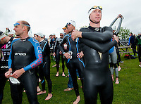 09 MAY 2010 - GRENDON, GBR - Competitors wait for the start of their wave during the Grendon Triathlon (PHOTO (C) NIGEL FARROW)