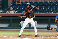 AZL Giants Black left fielder Kwan Adkins (8) at bat during an Arizona League game against the AZL Rangers at Scottsdale Stadium on August 4, 2018 in Scottsdale, Arizona. The AZL Giants Black defeated the AZL Rangers by a score of 6-3 in the second game of a doubleheader. (Zachary Lucy/Four Seam Images)