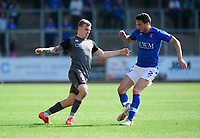 Lincoln City's Harry Anderson vies for possession with Carlisle United's Gary Miller<br /> <br /> Photographer Chris Vaughan/CameraSport<br /> <br /> The EFL Sky Bet League Two - Carlisle United v Lincoln City - Friday 19th April 2019 - Brunton Park - Carlisle<br /> <br /> World Copyright © 2019 CameraSport. All rights reserved. 43 Linden Ave. Countesthorpe. Leicester. England. LE8 5PG - Tel: +44 (0) 116 277 4147 - admin@camerasport.com - www.camerasport.com