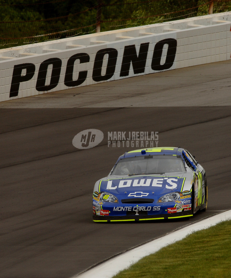 June 10, 2006; Long Pond, PA, USA; Nascar Nextel Cup driver Jimmie Johnson (48) during practice for the Pocono 500 at Pocono Raceway. Mandatory Credit: Mark J. Rebilas.