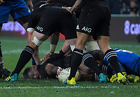 Waisake Naholo lays the ball back during the Steinlager Series international rugby match between the New Zealand All Blacks and France at Forsyth Barr Stadium in Wellington, New Zealand on Saturday, 23 June 2018. Photo: Dave Lintott / lintottphoto.co.nz