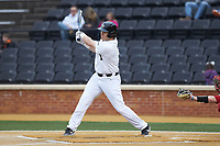 Bobby Seymour (3) of the Wake Forest Demon Deacons follows through on his swing against the Sacred Heart Pioneers at David F. Couch Ballpark on February 15, 2019 in  Winston-Salem, North Carolina.  The Demon Deacons defeated the Pioneers 14-1. (Brian Westerholt/Four Seam Images)