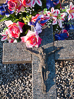 France, FRA, Beaujolais, Fleurie, 2010Aug15: A crucifix on the Fleurie graveyard.