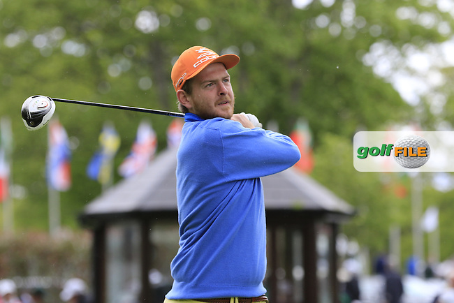 Michael Hoey's (NIR) team during Wednesday's Pro-Am of the 2016 Dubai Duty Free Irish Open hosted by Rory Foundation held at the K Club, Straffan, Co.Kildare, Ireland. 18th May 2016.<br /> Picture: Eoin Clarke | Golffile<br /> <br /> <br /> All photos usage must carry mandatory copyright credit (&copy; Golffile | Eoin Clarke)