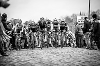 Ian Stannard (GBR/Team Sky) leads the peloton during the 2nd passage over the 'Haaghoek' cobbles. <br /> <br /> 74th Omloop Het Nieuwsblad 2019 (BEL)<br /> Gent – Ninove: 200km<br /> ©kramon