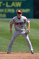 Carolina Mudcats third baseman Todd Hankins (8) during a game against the Frederick Keys on April 26, 2014 at Harry Grove Stadium in Frederick, Maryland.  Carolina defeated Frederick 4-2.  (Mike Janes/Four Seam Images)