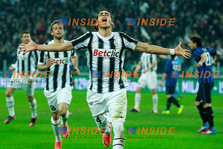 "Esultanza di Martin Caceres Juventus.Goal Celebration.Torino 25/03/2012 Stadio ""Juventus"".Football / Calcio Serie A 2011/12 Juventus vs Inter .Foto Insidefoto Paolo Nucci."
