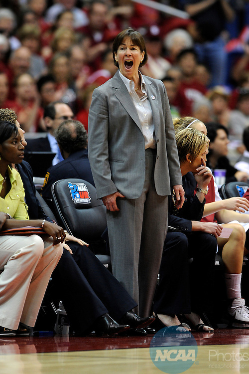 04 APR 2010: Stanford Head Coach Tara VanDerveer shouts out instructions to her players during the Division I Women's Basketball Semifinals held at the Alamodome during the 2010 Women's Final Four in San Antonio, TX.  Stephen Nowland/NCAA Photos