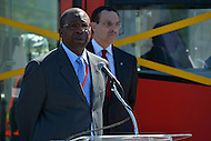 May 1, 2013  (Washington, DC)  DDOT Director Terry Bellamy speaks about the District's new streetcars during a news conference at the DDOT Anacostia facility May 1, 2013, as  D.C. Mayor Vincent Gray listens.   (Photo by Don Baxter/Media Images International)