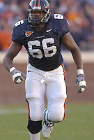12 November 2005:  Virginia tackle D'Brickashaw Ferguson (66).  The Virginia Cavaliers defeated the Georgia Tech Yellow Jackets 27-17 at Scott Stadium in Charlottesville, VA.