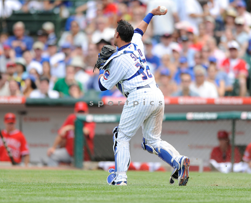 GOEVANY SOTO, of the Chicago Cubs, in action during the Cubs game against the Anaheim Angels at Wrigley Field in Chicago, IL on June 18, 2010.  ..The Angels won the game 7-6...