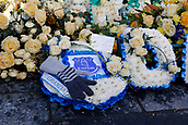 2nd February 2019, Goodison Park, Liverpool, England; EPL Premier League Football, Everton versus Wolverhampton Wanderers; Floral tributes outside the ground to a recently deceased Everton fan