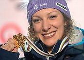 10th February 2019, Are, Sweden; Alpine skiing: Combination, ladies: downhill; Ilka Stuhec from Slovenia shows her gold medal at the award ceremony.
