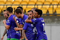 Phoenix Team celebrates a goal during the A League - Wellington Phoenix v Western United FC at Sky Stadium, Wellington, New Zealand on Friday 21 February 2020. <br /> Photo by Masanori Udagawa. <br /> www.photowellington.photoshelter.com