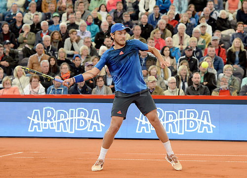 29.07.2015. Hamburg, Germany.  Lucas Pouille of France in action during the round of 16 match against Monaco of Argentina at the ATP tennis tournament in Hamburg, Germany, 29 July 2015.