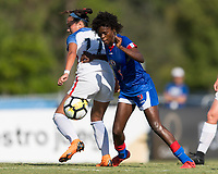 Bradenton, FL - Sunday, June 10, 2018: Angeline Gustave, Maya Doms during a U-17 Women's Championship match between the United States and Haiti at IMG Academy.  USA defeated Haiti 3-2 to advance to the finals.