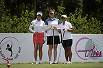 Golfer Yezhou Lin of China (L) Yen-Ling Pan of Taiwan (C) and Ainil Bakar of Malaysia (R) during the 2017 Hong Kong Ladies Open on June 9, 2017 in Hong Kong, China. Photo by Chris Wong / Power Sport Images