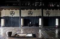 The 'Zashiki' is lit by a series of Edo-period Andon floor lamps
