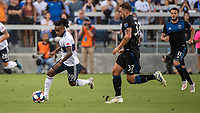 SAN JOSE, CA - AUGUST 24: Yordy Reyna #29 of the Vancouver Whitecaps and Guram Kashia #37 of the San Jose Earthquakes during a game between Vancouver Whitecaps FC and San Jose Earthquakes at Avaya Stadium on August 24, 2019 in San Jose, California.