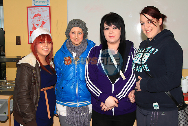 Katie McCann, Leona McArdle, Kim Leggett and Tanya Duffy at the Youthreach Christmas Party..Picture: Shane Maguire / www.newsfile.ie.