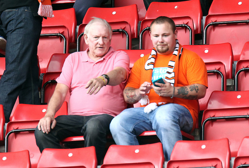 Blackpool fans take their seats before kick-off<br /> <br /> Photographer Rich Linley/CameraSport<br /> <br /> Football - The Football League Sky Bet League One - Sheffield United v Blackpool - Saturday 22nd August 2015 - Bramall Lane - Sheffield<br /> <br /> &copy; CameraSport - 43 Linden Ave. Countesthorpe. Leicester. England. LE8 5PG - Tel: +44 (0) 116 277 4147 - admin@camerasport.com - www.camerasport.com