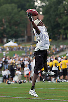 Emmanuel Sanders, Pittsburgh Steelers wide receiver. Training camp, August 11, 2011 at Latrobe, Pennsylvania.