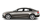 Car Driver side profile view of a 2018 Jaguar XE 4dr-Sdn-20d-R-Sport-RWD 4 Door Sedan Side View