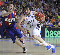 14.06.2013 Bacelona, Spain. Liga Endesa Play Off titulo. Picture show Sergio Llull in action during game betwen FC BArcelona v Real Madrid at Palau Blaugrana