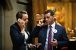 © Joel Goodman - 07973 332324 . 23/06/2016 . Manchester , UK . UKIP's STEVEN WOOLFE MEP (r) checking results on his mobile phone outside The Great Hall in the EU referendum at Manchester Town Hall . Photo credit : Joel Goodman