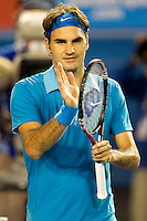 Roger Federer (SUI) (1) against Victor Hanescu (ROU) in the Second Round of the Mens Singles. Federer beat Hanescu 6-2 6--3 6-2..International Tennis - Australian Open Tennis - Thur 21 Jan 2010 - Melbourne Park - Melbourne - Australia ..© Frey - AMN Images, 1st Floor, Barry House, 20-22 Worple Road, London, SW19 4DH.Tel - +44 20 8947 0100.mfrey@advantagemedianet.com
