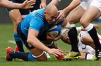 Rugby, Torneo delle Sei Nazioni: Italia vs Inghilterra. Roma, 14 febbraio 2016.<br /> Italy&rsquo;s Sergio Parisse in action during the Six Nations rugby union international match between Italy and England at Rome's Olympic stadium, 14 February 2016.<br /> UPDATE IMAGES PRESS/Riccardo De Luca