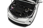 Car Stock 2018 Toyota C-HR XLE-Premium 5 Door SUV Engine  high angle detail view