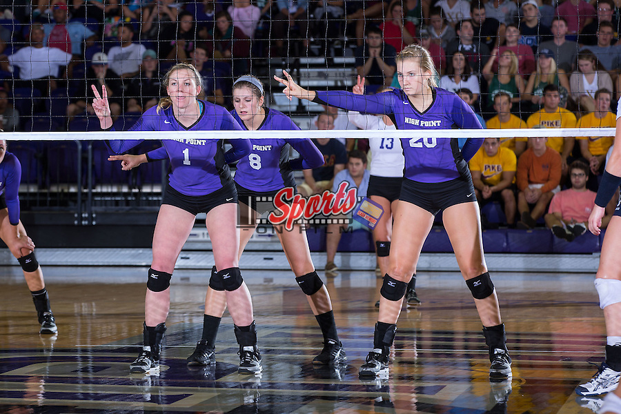 Katie Vincent (1), Gabi Mirand (8) and Haley Barnes (20) during the match against the UNC Greensboro Spartans at Millis Athletic Center on September 16, 2014 in High Point, North Carolina.  The Panthers defeated the Spartans 3-0.   (Brian Westerholt/Sports On Film)