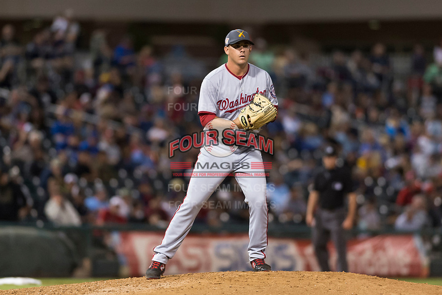 AFL East relief pitcher Ben Braymer (43), of the Salt River Rafters and the Washington Nationals organization, gets ready to deliver a pitch during the Arizona Fall League Fall Stars game at Surprise Stadium on November 3, 2018 in Surprise, Arizona. The AFL West defeated the AFL East 7-6 . (Zachary Lucy/Four Seam Images)