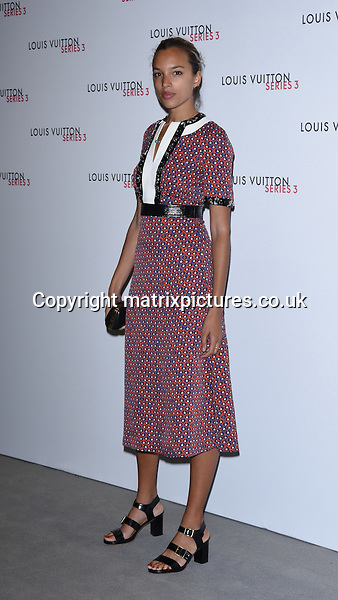 NON EXCLUSIVE PICTURE: MATRIXPICTURES.CO.UK<br /> PLEASE CREDIT ALL USES<br /> <br /> WORLD RIGHTS<br /> <br /> Model Phoebe Collings-James attending the Louis Vuitton Series 3 Exhibition launch party, in London. <br /> <br /> SEPTEMBER 20th 2015<br /> <br /> REF: SLI 152927