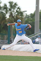 Myrtle Beach Pelicans pitcher Daury Torrez (38) on the mound during a game against the Salem Red Sox at Ticketreturn.com Field at Pelicans Ballpark on May 6, 2015 in Myrtle Beach, South Carolina.  Myrtle Beach defeated Salem 4-2. (Robert Gurganus/Four Seam Images)