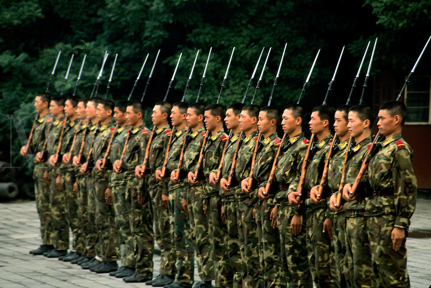 Chinese military soldiers in formation in Beijing China.