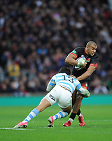 Jonathan Joseph of England is tackled by Matias Moroni of Argentina during the Old Mutual Wealth Series match between England and Argentina at Twickenham Stadium on Saturday 11th November 2017 (Photo by Rob Munro/Stewart Communications)
