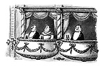 (Two bottles of beer replace opera glasses in front of the occupant of a box at the theatre)