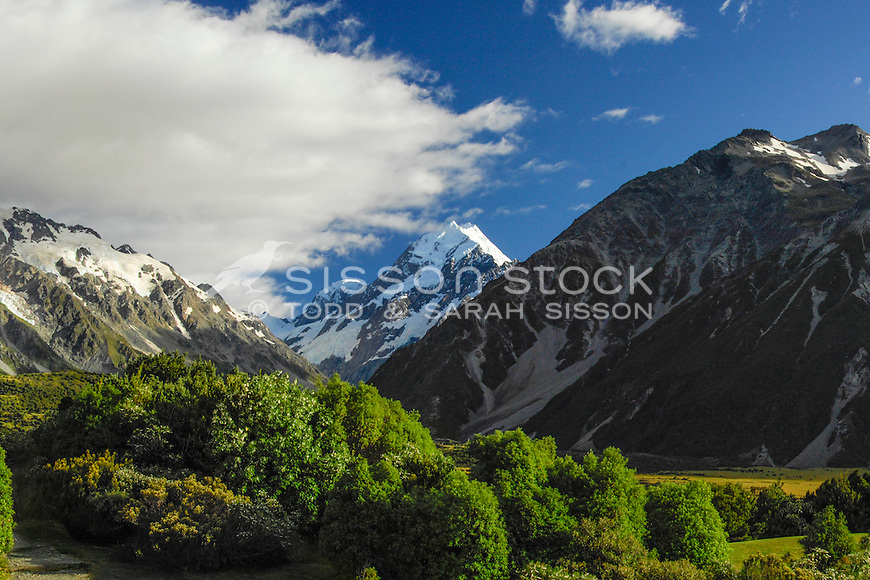 Blue sky day view of Aoraki Mt Cook peak from the Hermitage Hotel - looking up Hooker Valley.