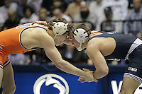 STATE COLLEGE, PA - FEBRUARY 16: Dylan Alton of the Penn State Nittany Lions during a 157 pound match against Alex Dieringer of the Oklahoma State Cowboys on February 16, 2014 at Rec Hall on the campus of Penn State University in State College, Pennsylvania. Penn State won 23-12. (Photo by Hunter Martin/Getty Images) *** Local Caption *** Dylan Alton;Alex Dieringer