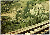View of the Lake Fork Valley as seen from an RGS High Line trestle, showing Windy Point trackage at left.<br /> RGS  Ophir Loop, CO  Taken by Koken, Richard