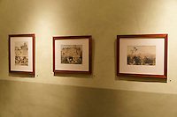 Nineteenth century lithographs Frederick Catherwood  in the Casa Frederick Catherwood in Merida, Yucatan, Mexico.
