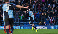 Michael Harriman of Wycombe Wanderers turns to celebrate his goal during the Sky Bet League 2 match between Wycombe Wanderers and Portsmouth at Adams Park, High Wycombe, England on 28 November 2015. Photo by Andy Rowland.