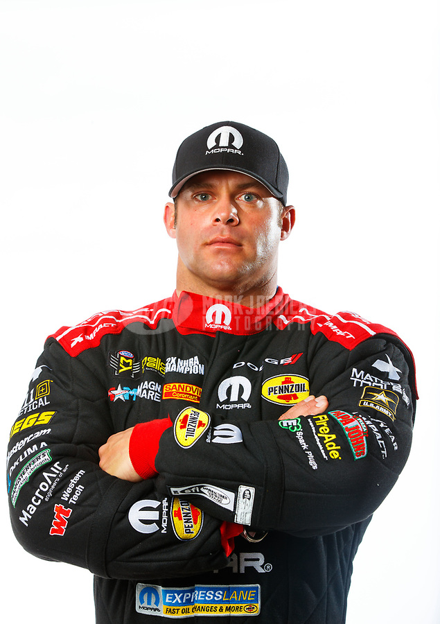 Feb 7, 2018; Pomona, CA, USA; NHRA funny car driver Matt Hagan poses for a portrait during media day at Auto Club Raceway at Pomona. Mandatory Credit: Mark J. Rebilas-USA TODAY Sports