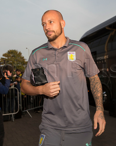 26th September 2017, Pirelli Stadium, Burton upon Trent, England; EFL Championship football, Burton Albion versus Aston Villa; Alan Hutton of Aston Villa arriving at The Pirelli Stadium before the match